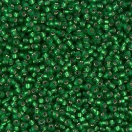 Miyuki Round Seed Beads 11/0 Matte Silverlined Green