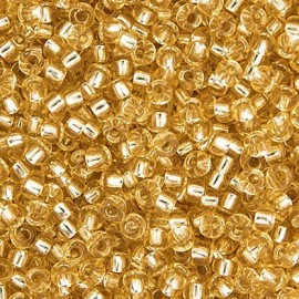 Miyuki Round Seed Beads 8/0 Silverlined Light Gold