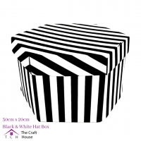 Hat Box Black and White Striped 30cm x 20cm