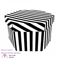 Hat Box Black and White Striped 35cm x 25cm