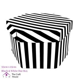 Hat Box Black and White Striped 35cm x 25cm