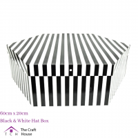Hat Box Black and White Striped 60cm x 20cm