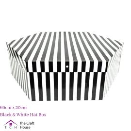 Hat Box Black and White Striped 60cm x 20cm